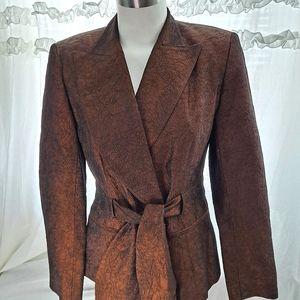 Bronze Metallic Self-Belt Blazer Jacket Cache VTG